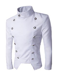 メンズ カジュアル/普段着 冬 ブレザー,ストリートファッション スタンド ソリッド レギュラー ポリエステル 長袖