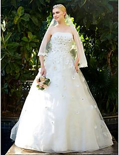 LAN TING BRIDE A-Şekilli Düğün elbisesi - Zarif & Lüks Open Back Süpürge / Fırça Kuyruk Straplez Yaka Dantelalar Tül ile Boncuk Çiçek