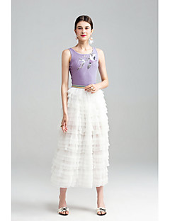 Damen Einfach Niedlich Ausgehen Lässig/Alltäglich Urlaub Midi Röcke Schaukel,Tüll Gefaltet Mehrschichtig einfarbig Sommer