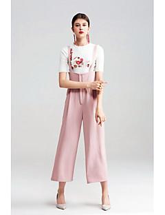 Femme Mignon simple Taille haute Micro-élastique Ample Salopette Pantalon,Ample Couleur Pleine