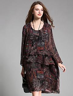 Kadın Dışarı Çıkma Günlük/Sade Boho Salaş Elbise Desen,Uzun Kollu Yuvarlak Yaka Midi Polyester Sonbahar Yüksek Bel Esnemez İnce