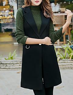 Damen Solide Einfach Lässig/Alltäglich Weste,V-Ausschnitt Herbst Winter Ärmellos Lang Polyester
