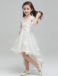Princess Asymetrické Šaty pro květinovou družičku - Tyl Kulatý s Mašle Květina(y)