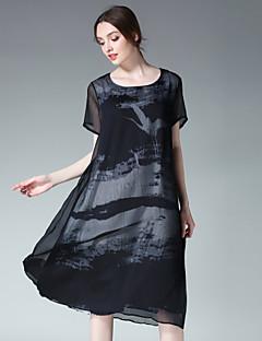 Kadın Dışarı Çıkma Günlük/Sade Sade Salaş Şifon Elbise Desen,Kısa Kollu Yuvarlak Yaka Midi Şifon Yaz Yüksek Bel Esnemez İnce