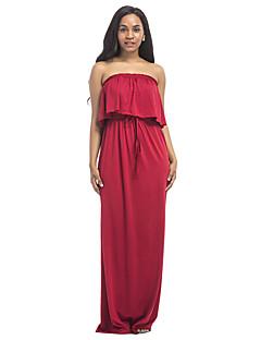 Dámské Sexy Cikánský Párty Velké velikosti Plážové Pouzdro Šaty Jednobarevné,Bez rukávů Bez ramínek Maxi Polyester Spandex Léto High Rise