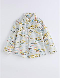 Drenge T-shirt Gitter Trykt mønster,Bomuld Forår/Vinter Langærmet