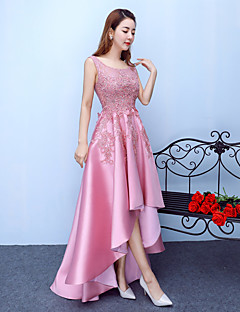 Asymmetrical Jersey Elegant Bridesmaid Dress - A-line Scoop with Lace