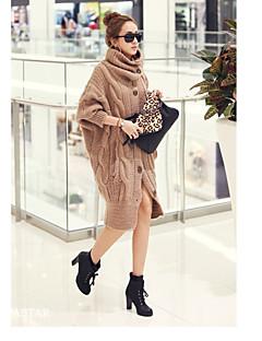 Damen Standard Strickjacke-Normal Einfach Solide Stehkragen Langarm Baumwolle Frühling Dick Dehnbar