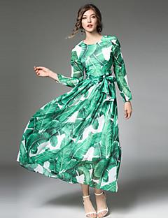 A-linje Kjole Fest Ut på byen Fritid/hverdag Vintage Gatemote Sofistikert Dame,Lapper Rund hals Midi Langermet Polyester Alle sesonger