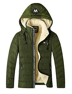 Erkek Solid Çizgili Sade Dışarı Çıkma Günlük/Sade Kaban,Polyester Polyester Normal Dolgulu-Uzun Kollu