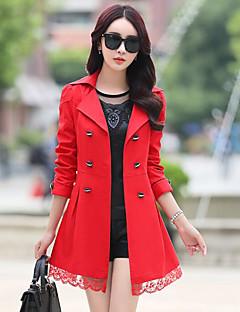 여성 솔리드 노치 라펠 긴 소매 트렌치 코트,정교한 디테일 캐쥬얼/데일리 긴 폴리에스테르 가을