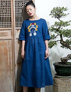 Kadın Günlük/Sade Çan Elbise Solid Nakışlı,Yarım Kol Yuvarlak Yaka Midi Pamuklu Yaz Normal Bel Mikro-Esnek Orta