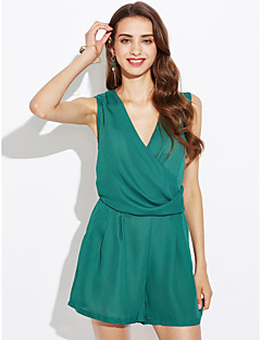 Women's Going out Casual/Daily Simple Sexy Solid Strap Rompers,Slim Sleeveless Summer Fall Polyester