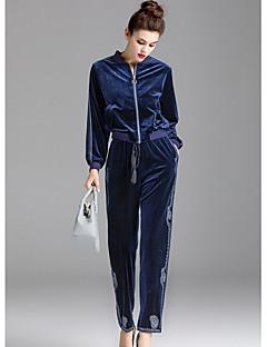 Damen Solide Einfach Lässig/Alltäglich Kapuzenshirt Hose Anzüge,Rundhalsausschnitt Herbst Lange Ärmel Mikro-elastisch
