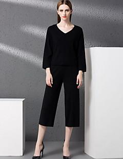 Langærmet V-hals Mikroelastisk Damer Ensfarvet Forår Efterår Simple I-byen-tøj T-shirt Bukse Jakkesæt