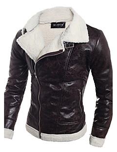 Masculino Jaquetas de Couro Casual Simples Outono Inverno,Sólido Padrão Poliuretano Decote Redondo Manga Longa