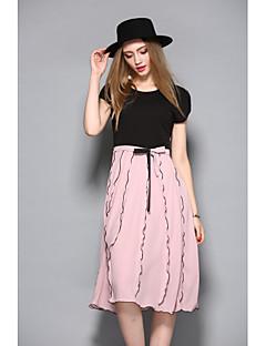Damen Hülle Kleid-Lässig/Alltäglich Solide Gestreift Rundhalsausschnitt Knielang Kurzarm Baumwolle Sommer Mittlere Hüfthöhe