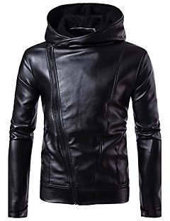 Masculino Jaquetas de Couro Para Noite Casual Tamanhos Grandes Simples Moda de Rua Punk & Góticas Outono Inverno,Sólido Padrão Poliuretano