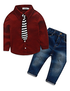 Boys' Solid Sets,Cotton Polyester Spandex Fall Winter Long Sleeve Clothing Set