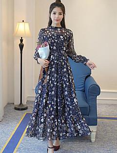Kadın Dışarı Çıkma Kılıf Elbise Çiçekli,Uzun Kollu Dik Yaka Maksi Polyester Yaz Normal Bel Mikro-Esnek İnce