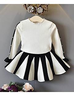 Mädchen Sets einfarbig Baumwolle Polyester Frühling Herbst Lange Ärmel Kleidungs Set