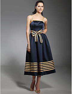 גזרת A נסיכה רצועות ספגטי באורך הקרסול סאטן נמתח מסיבת קוקטייל שמלה עם פפיון(ים) סרט על ידי TS Couture®