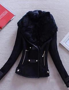 Damen Solide Einfach Ausgehen Lederjacken,Schal Revers Winter Lange Ärmel Kurz PU