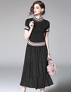 Damen Gestreift Street Schick Lässig/Alltäglich Bluse Rock Anzüge,Ständer Sommer Herbst Kurzarm Mikro-elastisch
