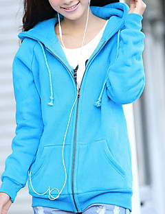 Women's Casual/Daily Simple Hoodie Solid Hooded Stretchy Others Long Sleeve Fall Winter