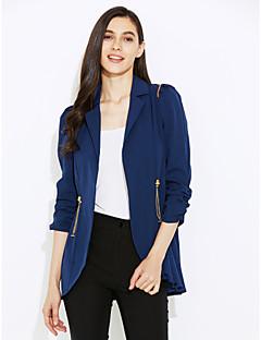 여성의 솔리드 노치 라펠 ¾ 소매 블레이져,스트리트 쉬크 캐쥬얼/데일리 블루 / 레드 / 그린 폴리에스테르 가을 중간