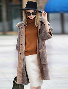 3/4 ærme Hætte Damer Normal Farveblok Efterår Vinter Vintage I-byen-tøj Afslappet/Hverdag Frakke,Polyester Mohair