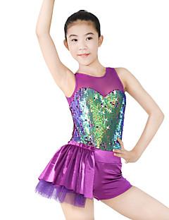 ג'אז בגדי גוף בגדי ריקוד נשים בגדי ריקוד ילדים ביצועים ספנדקס פוליאסטר נצנצים עטוף חלק 1 בלי שרוולים טבעי בגד גוף