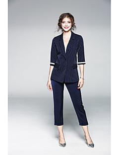 Damen Solide Gestreift Anspruchsvoll Lässig/Alltäglich Arbeit Shirt Hose Anzüge,Hemdkragen Frühling Halbe Ärmel