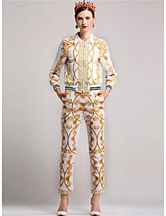 Damen Solide Druck Einfach Lässig/Alltäglich T-Shirt-Ärmel Hose Anzüge,V-Ausschnitt Herbst Lange Ärmel