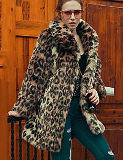 Fuskepels Lang Langermet,Skjortekrage Pelskåpe Leopard Vinter Vintage Gatemote Sofistikert Fest Fritid/hverdag Plusstørrelser Dame
