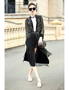 Damen Solide Einfach Lässig/Alltäglich Trench Coat,V-Ausschnitt Herbst ¾ Ärmel Lang Baumwolle Polyester