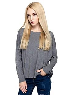 Damen Standard Pullover-Ausgehen Lässig/Alltäglich Einfach Street Schick Solide Rundhalsausschnitt Langarm Baumwolle Nylon Herbst Winter