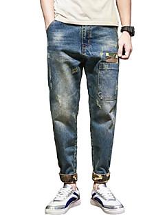 Herren Einfach Street Schick Mittlere Hüfthöhe Mikro-elastisch Eng Jeans Haremshosen Hose Solide