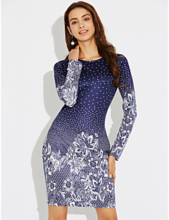 Women's Casual/Daily Work Sexy Simple Sheath Dress,Solid Print Round Neck Mini Above Knee Long Sleeve Polyester All Seasons Low Rise