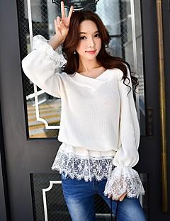 Damen Standard Pullover-Ausgehen Arbeit Sexy Retro Einfach Solide Spitze V-Ausschnitt Langarm Baumwolle Polyester Nylon Frühling Herbst