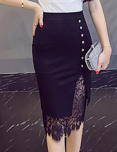 Damen Vintage Einfach Ausgehen Knielänge Röcke Bodycon,Spitze Ausgeschnitten einfarbig Ganzjährig