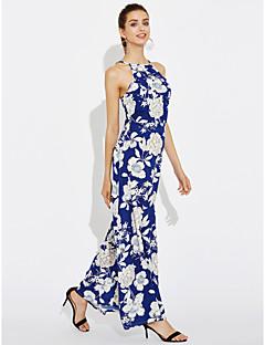 Γυναικείο Εξόδου Πάρτι/Κοκτέιλ Βίντατζ Απλό Θήκη Φόρεμα,Φλοράλ Αμάνικο Στρογγυλή Λαιμόκοψη Μακρύ Άλλα Καλοκαίρι Κανονική Μέση