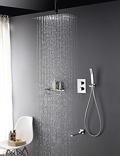 現代風 シャワーシステム サーモスタットタイプ レインシャワー ハンドシャワーは含まれている with  真鍮バルブ 二つのハンドル三穴 for  クロム , シャワー水栓