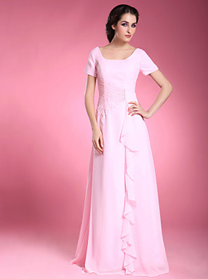 A-line Apple / Hourglass / Inverted Triangle / Pear / Rectangle / Plus Size / Petite / Misses Mother of the Bride Dress Floor-lengthShort