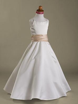 כלה לנטינג גזרת A / נסיכה עד הריצפה שמלה לנערת הפרחים - סאטן ללא שרוולים רצועות ספגטי עם קפלים / סלסולים