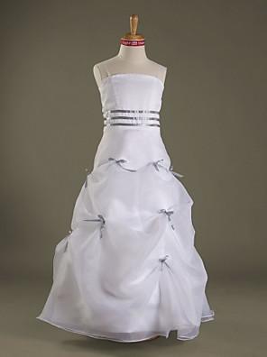 Lanting Bride® Na zem Organza / Satén Šaty pro malou družičku A-Linie / Princess Špagetová ramínka Přirozený sMašle / Nabíraná sukně /