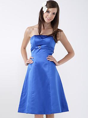 Lanting Bride® Ke kolenům Satén Šaty pro družičky A-Linie / Princess Bez ramínekJablko / Přesýpací hodiny / Převrácený trojúhelník /