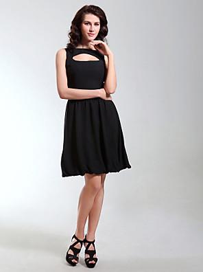 מסיבת קוקטייל / חגים שמלה - שמלה שחורה קטנה גזרת A / נסיכה סירה באורך  הברך שיפון עם תד נשפך