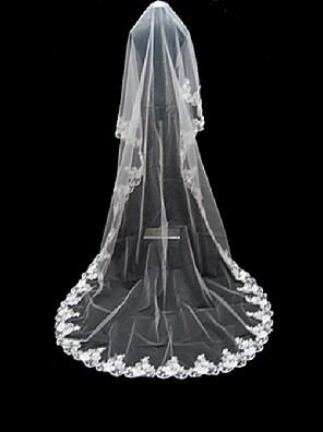 Velos de Boda 1 capa Catedral Con aplicación de encaje 220,47 en (560cm) Tul Blanco Blanco Corte A, evasé, princesa, recto, sirena