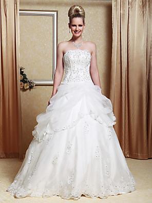 Lanting Bride® גזרת A / נסיכה קטן / מידה גדולה שמלת כלה - קלסי ונצחי / שיק ומודרני ברק ונצנצים עד הריצפה סטרפלס אורגנזה / סאטן עם